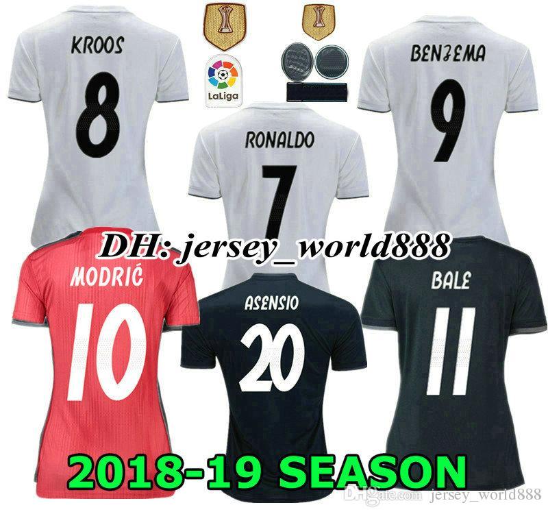 32c5df5938e 2019 Top Thai 18 19 Women Real Madrid Home Soccer Jersey 2018 Lady NAVAS  RONALDO ASENSIO BALE RAMOS ISCO MODRIC MEN Away Feminine Football Shirt  From ...