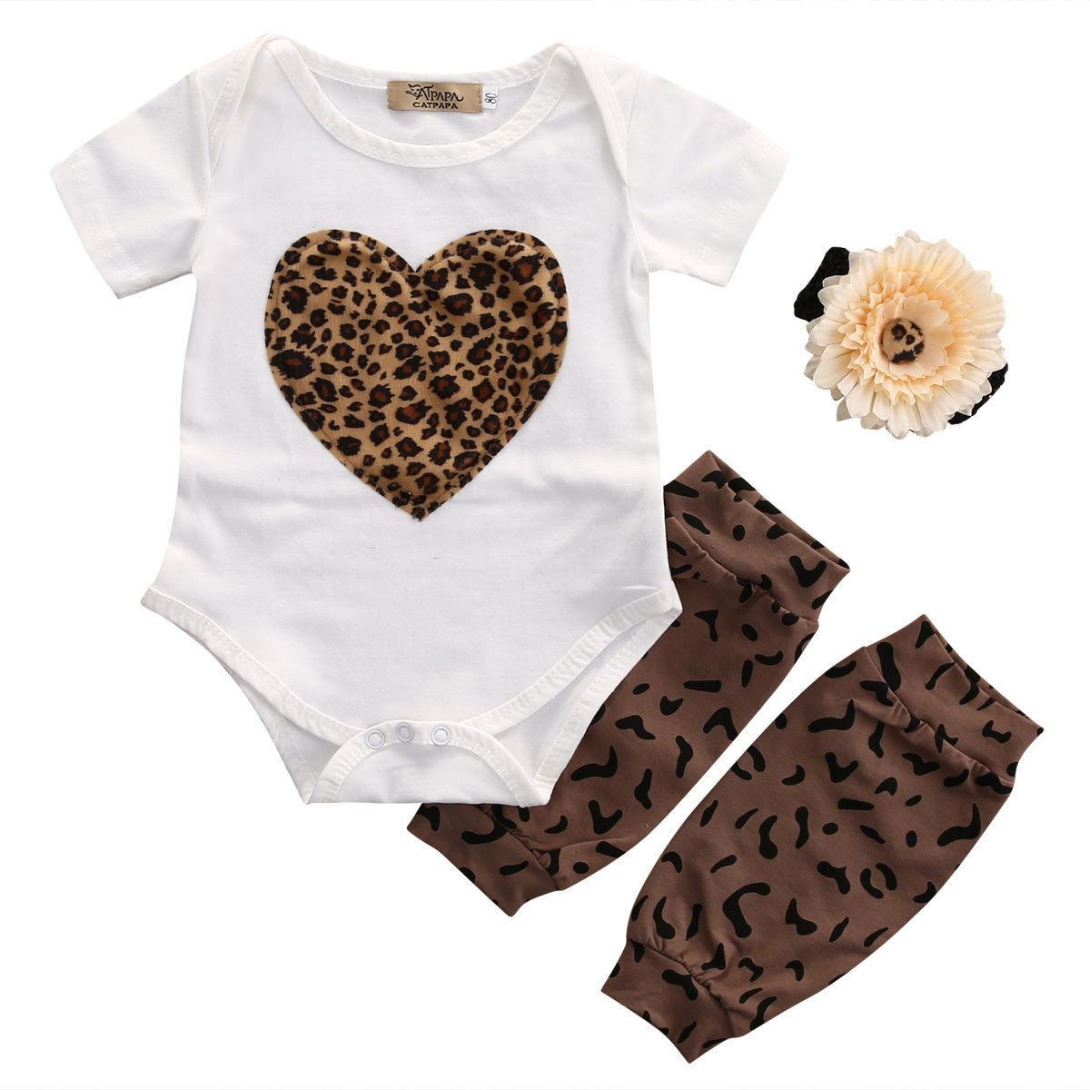 3pcs New Casual Newborn Kids Baby Girl Clothes Romper+Leg Warmer+Headband Outfit Set US STOCK