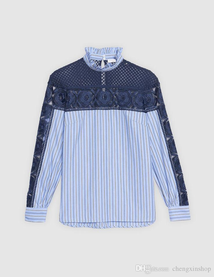 47b3087fa3 2018 France Striped Print Long Sleeves Stand Collar Lace Cutton Lady ...