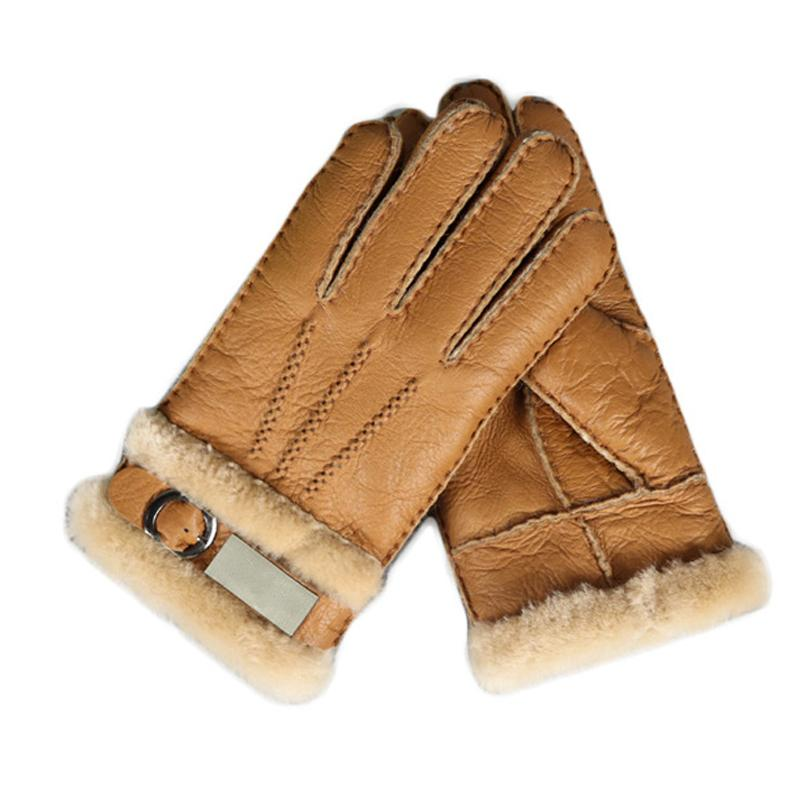 Genuine Leather Thick Warm Fur Gloves Fashion Men Winter Thermal Sheepskin Snow Mittens Outdoor Five Finger Wrist Gloves S3731 D18110705