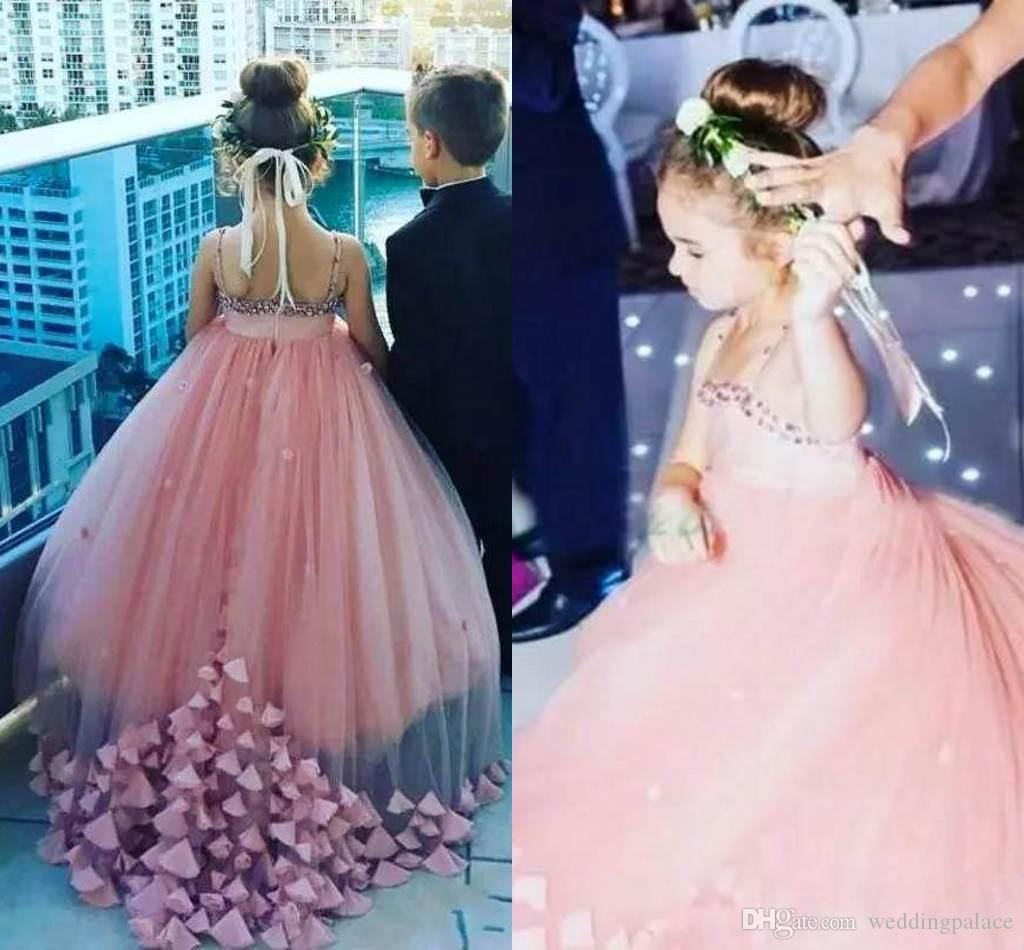 2018 Dusty Pink Flower Girl Dresses For Weddings Birthday Party