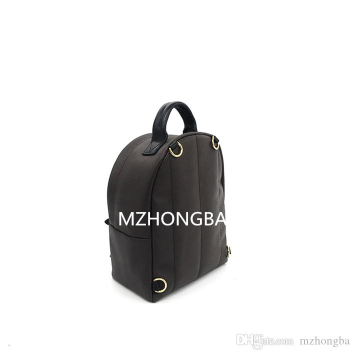 European And American Style Women's Brown Both Shoulders Genuine Leather Children Backpacks Print Leather Vogue Mini backpack Hot M50180