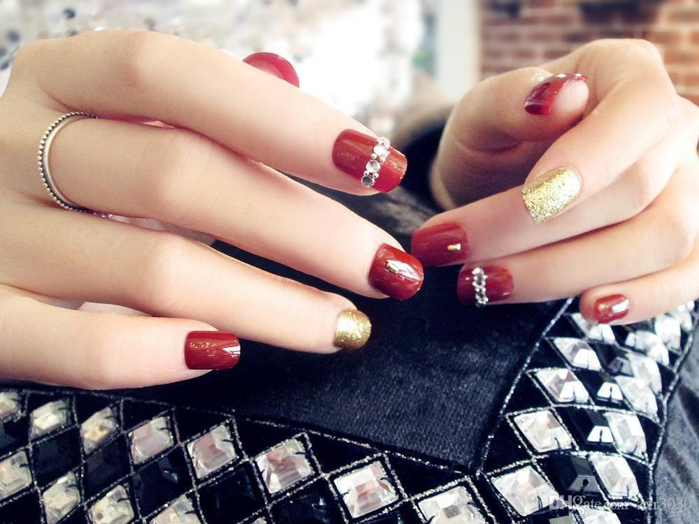 / set faux ongles Conseils de presse sur Manucure Gel Polish Conseils faux ongles Art Design courte Longueur ongles artificiels Conception d'extension