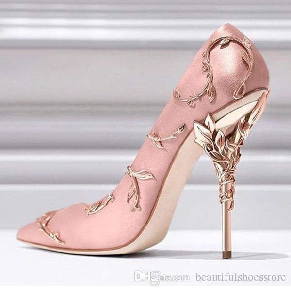 Luxury Studding Metal Decoration Silk Shoes Stiletto Heel Bridal Wedding Shoes Sexy Pointed Toe Ladies Pumps Filigree Leaves Eden High Heels