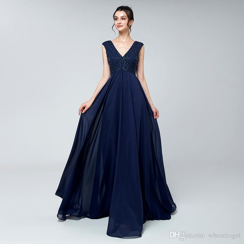 Real Photos Navy Blue Beaded Maternity Evening Dresses 2018 For ...