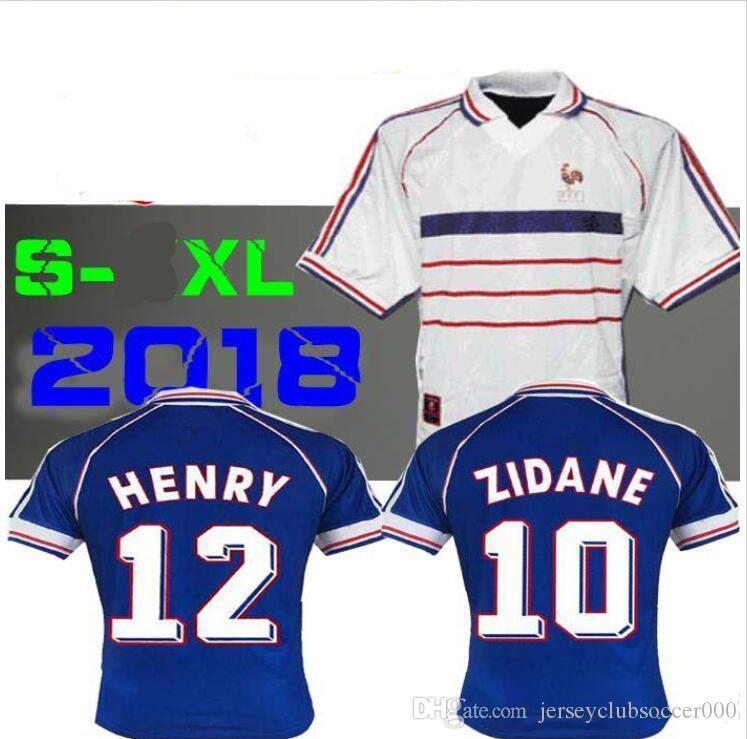 Compre 1998 FRANÇA RETRO VINTAGE ZIDANE HENRY MAILLOT DE PÉ Tailândia  Qualidade Camisas De Futebol Uniformes Camisas De Futebol Camisa Branco  Longe Finais ... 80ded2871ec91