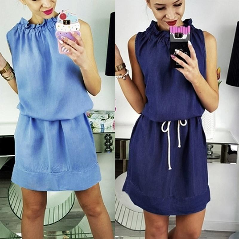 Womens Fashion Sleeveless Demin Jean Dresses Casual Plus Size Robes ...