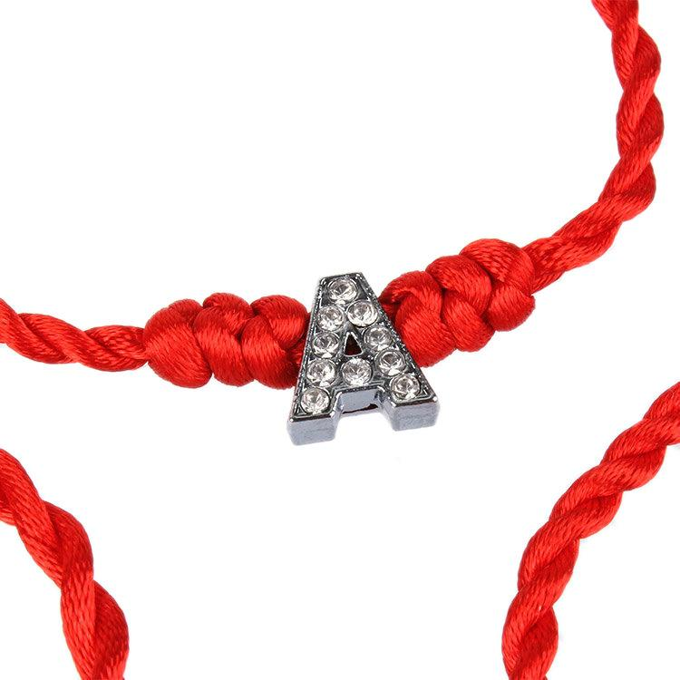 Crystal Letters Charm Bracelet with Red Rope Chain A-S Lucky Bracelet Cord String Line Handmade Jewelry Unisex Gift