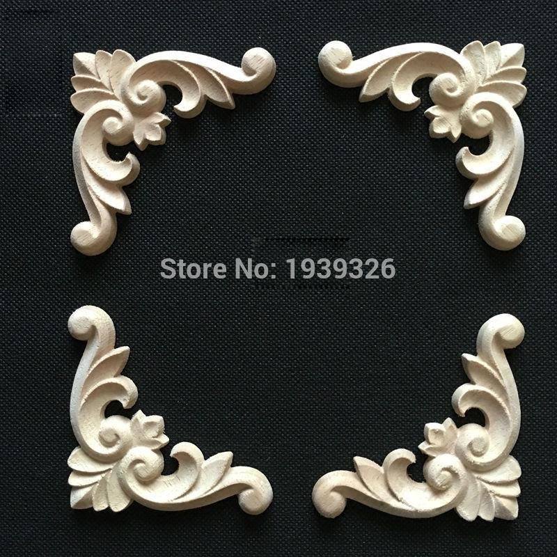 2018 Natural Wood Appliques Irregular Flower Wood Carving Decals Decorative  Wooden Mouldings For Cabinet Door Furniture Decor From Griffith, $30.0 |  Dhgate.
