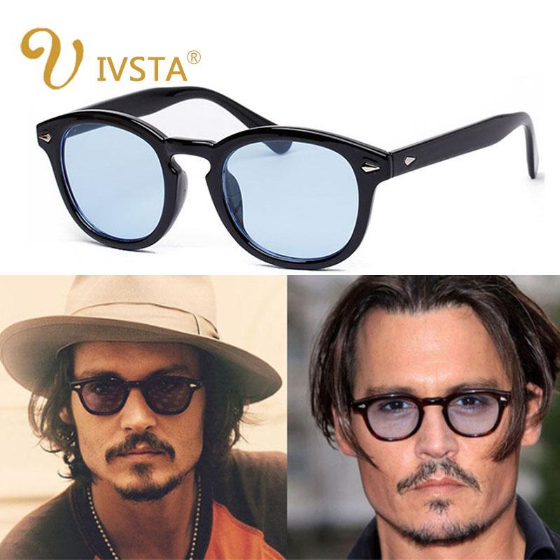 ca0e171fce8 IVSTA New Fashion Johnny Depp Sunglasses Men Style Round Tint Ocean Lens  Brand Design Party Show Sun Glasses Women Blue Rivet Glass Frames Online  Eyeglasses ...