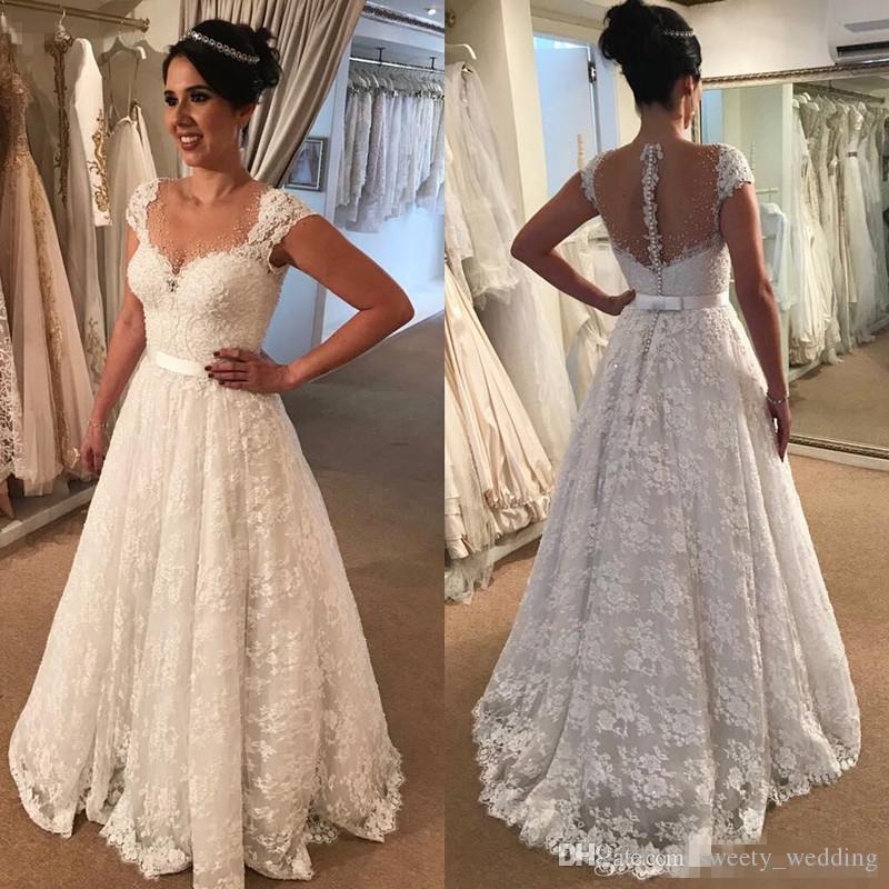 8871e3954767d Discount Romantic White Ivory Lace Wedding Dresses 2018 A Line Sheer Scoop  Neckline Cap Sleeves Backless Floor Length Bridal Gowns Appliqued Vestidos  Simple ...