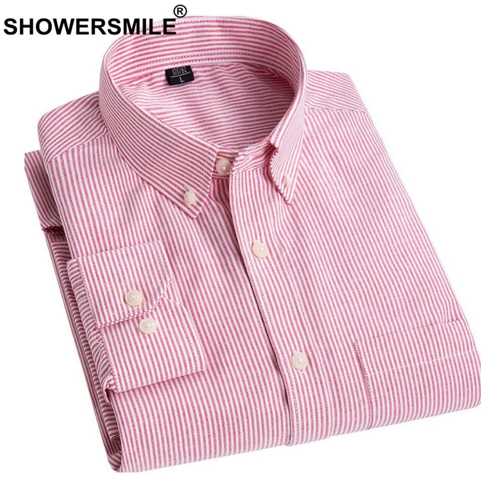 7fc6c78044 Compre SHOWERSMILE Marca Camisa Raya Roja Hombres De Algodón De Manga Larga  Camisa Informal Elegante Hombre Slim Fit Camisa Social De Negocios Con  Bolsillo ...