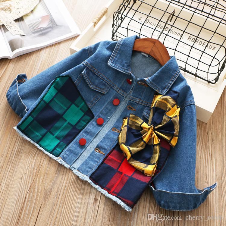 60593fac8 Children Jean Outwear 2018 Fashion New Girls Plaid Splicing Denim ...