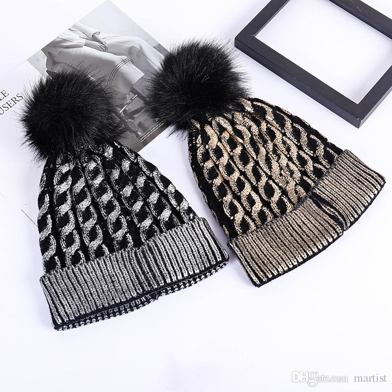 2019 Wholesale Silver Gold Sequins Pom Pom Winter Hats Weaven Beanie Gorras  Luxury Cap Fitted Hat Luxury Polo Hats Skull Caps Bucket Hats From Martist efde129d785