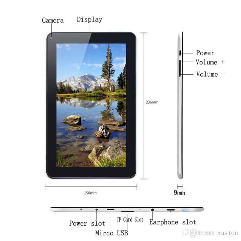 A33 9inch Tablet PC Capacitancia Quad Core Android 4.4 Cámara dual 8GB RAM 512MB ROM WIFI Bluetooth EPAD Facebook Google EA33-PB Venta al por menor