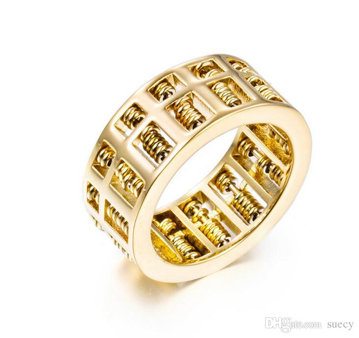 Moda Erkekler Kadınlar Için Abaküs Yüzük Yüksek Kalite Matematik Numarası Takı Altın Gümüş Paslanmaz Çelik Charm Yüzükler Hediyeler