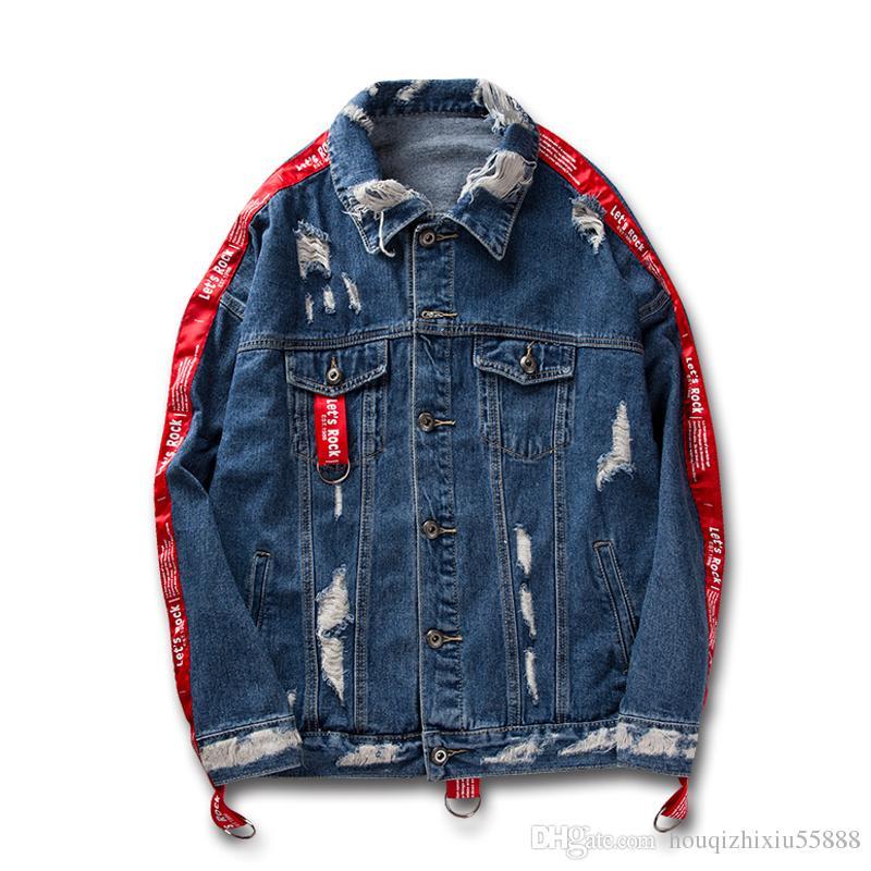 Band auf Ärmel zerstört Denim Jacken Männer Frauen Herbst Streetwear Jeans Jacke Männer schwarz blau