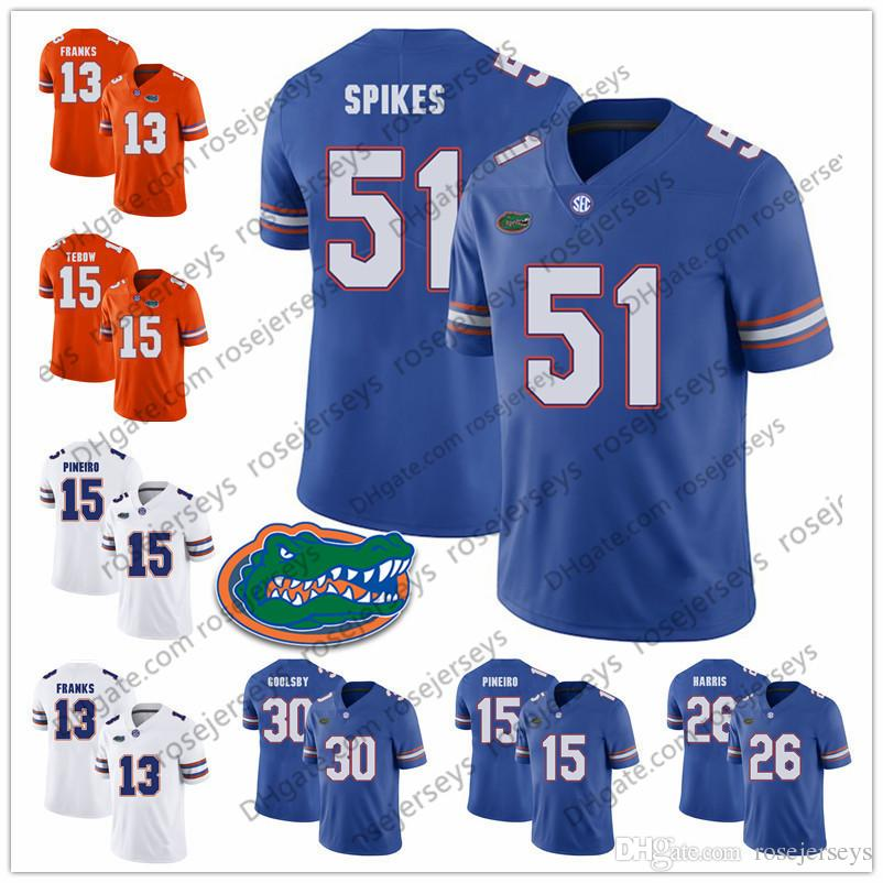 huge discount f7d25 61994 NCAA Florida Gators #15 Eddy Pineiro 51 Brandon Spikes 11 Steve Spurrier 26  Marcell Harris 30 DeAndre Goolsby Blue White Orange Jerseys