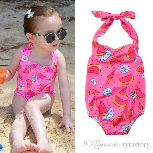 f31756fbc838d 2019 Pink Swimsuit Kids Baby Girls Watermelon One Piece Swimwear Bikini  Bathing Suit Green Summer Cute Beachwear Summer Boutique Clothing From  Tyfactory, ...