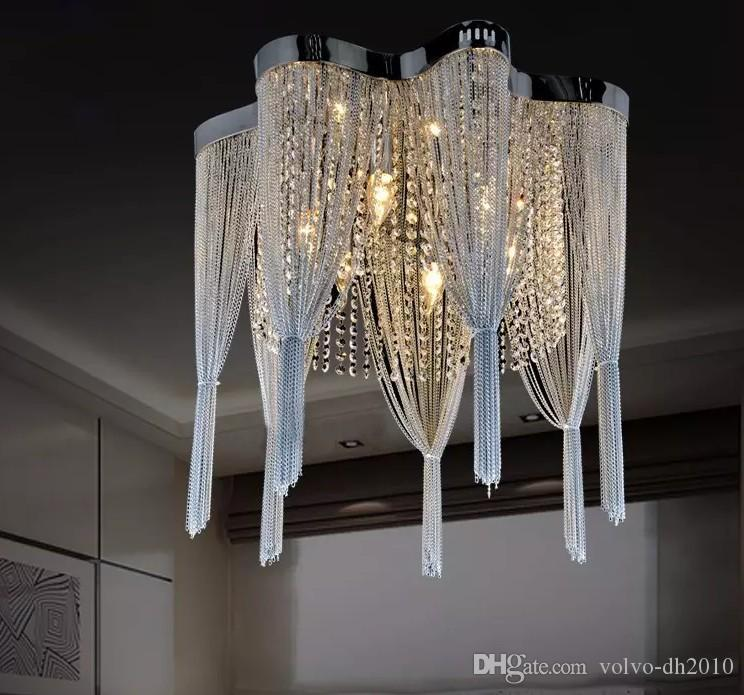 Chain Chandelier Empire Silver Hanging Suspension Lustres Lamp