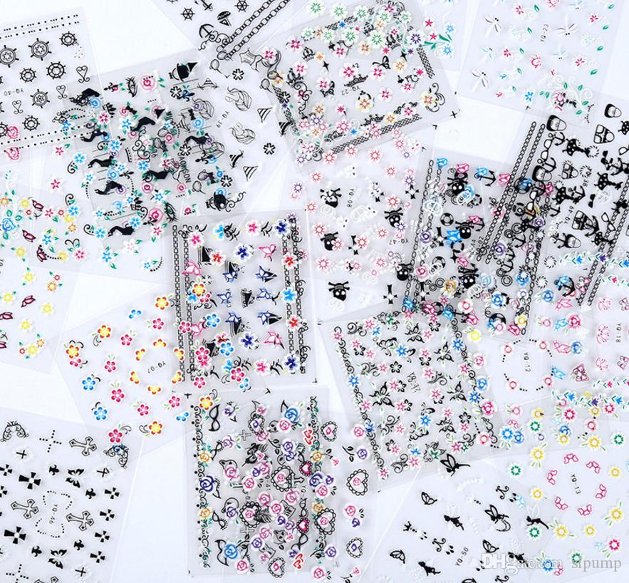 3D Mix Color Floral Design Nail Art Stickers Decals Manicure Beautiful Fashion Accessories Decoration