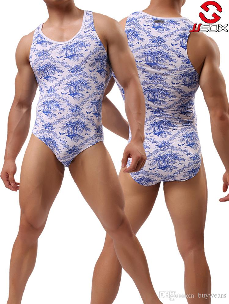 1c41e60af0e Men Bodysuit Blue White Print Man Modal Bodybuilding Shapewear Male Spandex  Slimming Wrestling Body Shaper Underwear M L XL