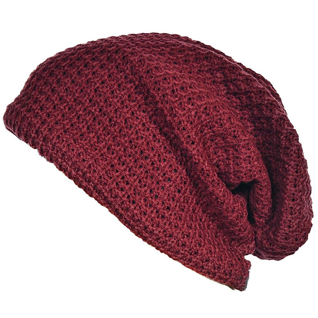 Mens Slouchy Long Beanie Knit Cap For Summer Winter Oversize Crochet