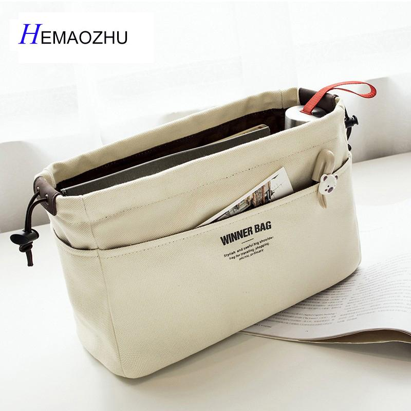 74771107b73 2019 Canvas Purse Organizer Bag Organizer Insert With Compartments Makeup  Handbag Organizador Trousse Maquillage Femme From Wangbeiche