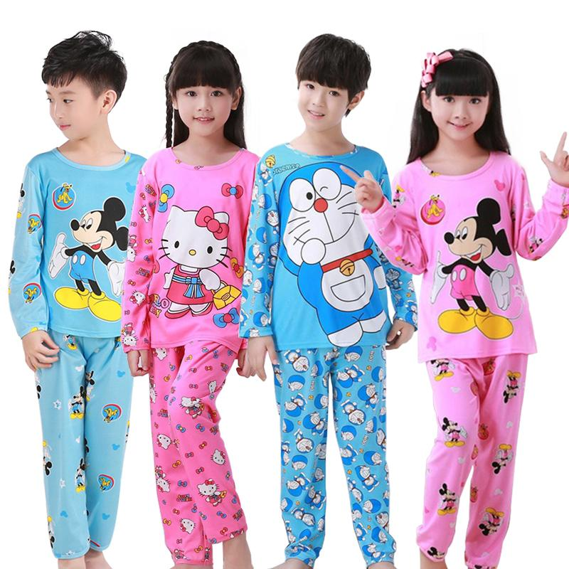 2019 Cartoon Doraemon Pajamas Kids Boy Girl Clothes Cute Round Neck ... bbe83551e