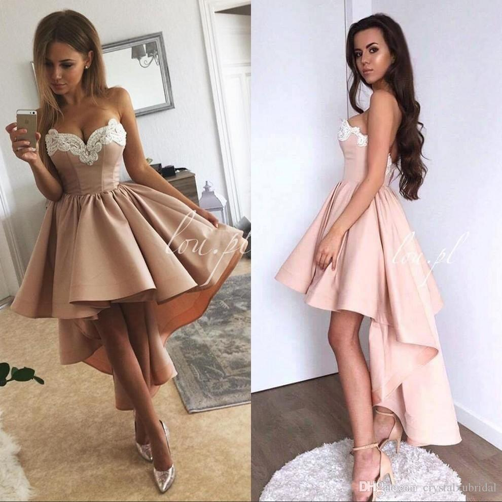 83ef15af7f765 2018 Vintage Cheap Women Cocktail Dresses Sweetheart Party Dress High Low  Length White Lace Appliques Blush Pink Satin Homecoming Gowns