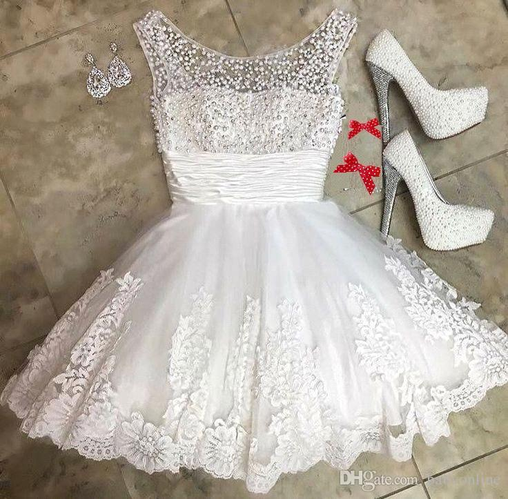 New Little White Short Homecoming Dresses 2018 Beaded Crystals Princess Sheer Neck Appliques Sweet 16 Graduation Cocktail Gowns BA9390