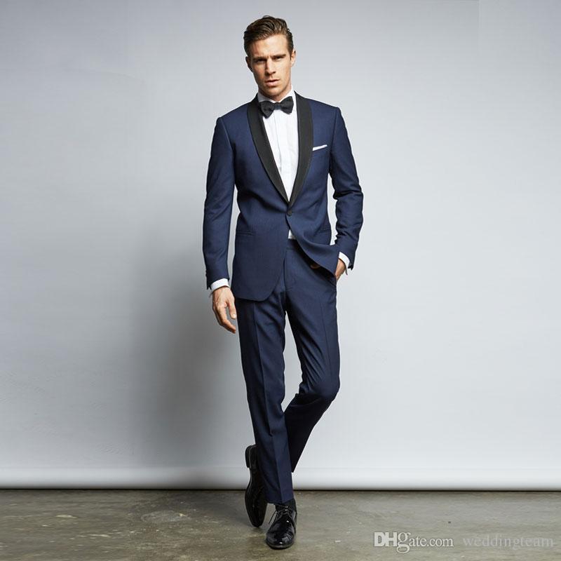 Compre 2018 Trajes De Boda Para Hombre Azul Marino Chal Solapa Hombres  Trajes Para El Matrimonio Guapo Novio Tuxedos Mejor Novio Terno 2 Unidades  A  172.71 ... f07801c1543