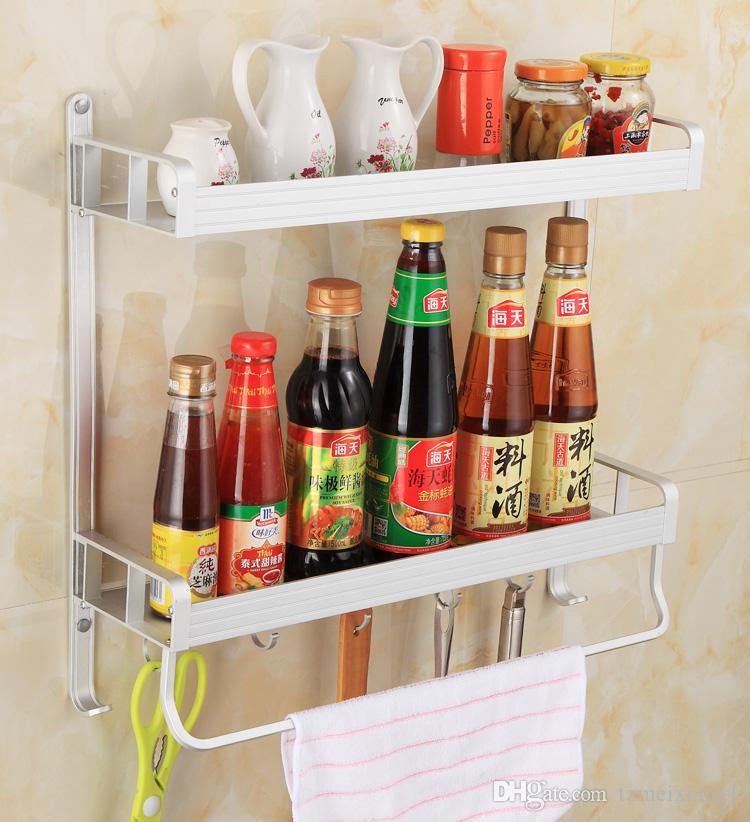 No Punzonatura Cucina a muro Scaffali da bagno Condimento Cruet Storage  Rack Dipartimento Stoviglie Forniture Hook Rack