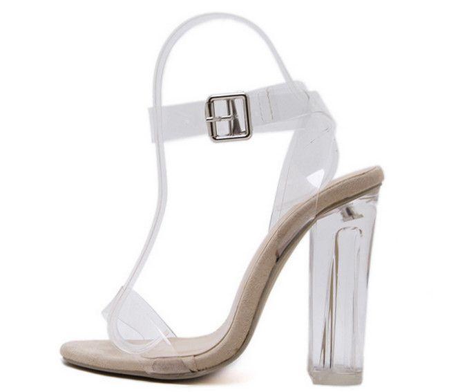 PVC Jelly Sandalen Offene spitze High Heels Runway Frauen Transparente Sommer Hausschuhe Starke Ferse Klar Sandalias Zeh Dicke Ferse sexy hoch