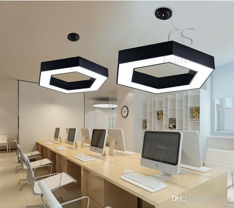 Modern Office Hexagon Led Pendant Light Minimalism Metal Pendant Fixtures Luminaria Lampares Led Hanging Light Suspension Lamp
