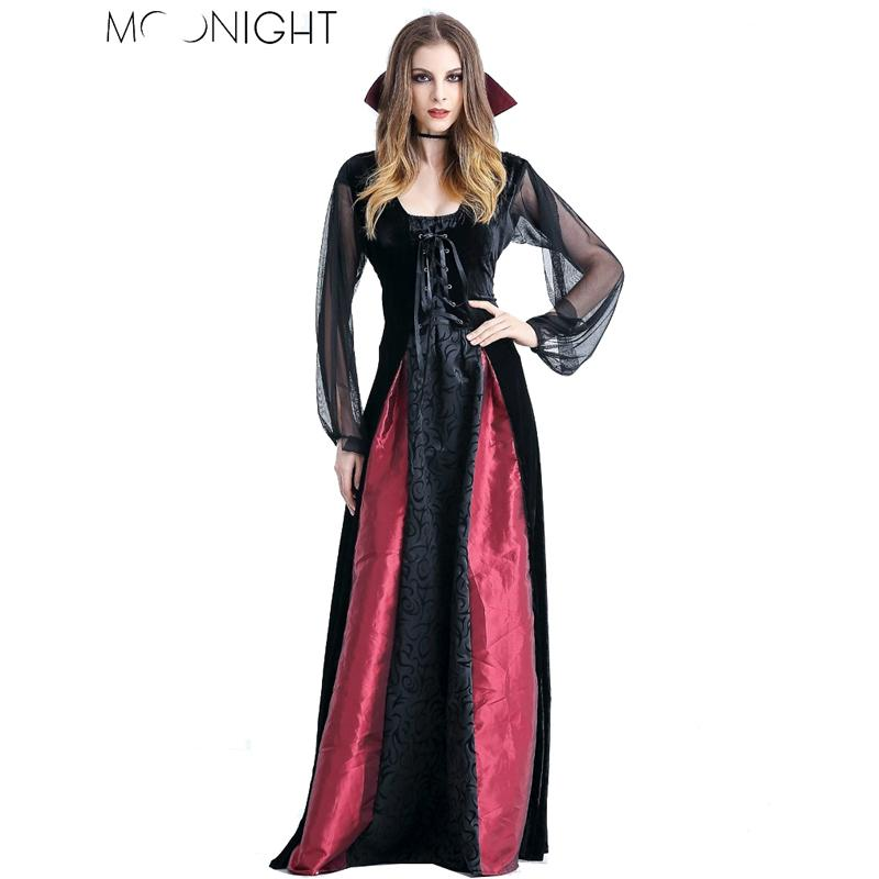 b28c07bd0084 Vampire Costume MOONIGHT New Women Costumes Cosplay Gothic Witch Outfit The  Queen Witch Role Play Clothing Large Group Costumes Groups Of 4 Halloween  ...