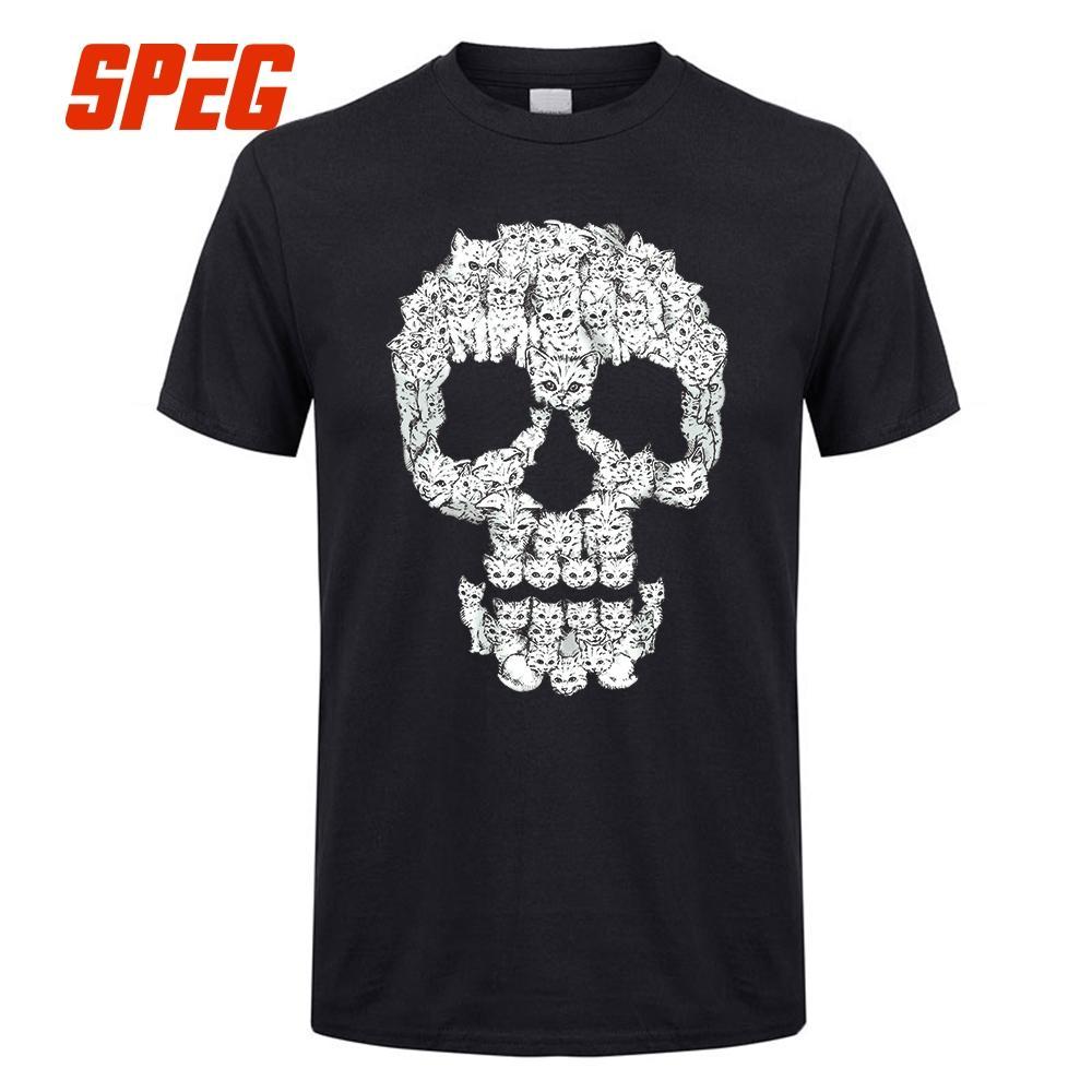 c0ea96595 Camisetas Cráneos son para gatitos Cráneo gato Slim Fit Camisetas Algodón  algodón manga corta para hombres Ropa única camiseta diseño