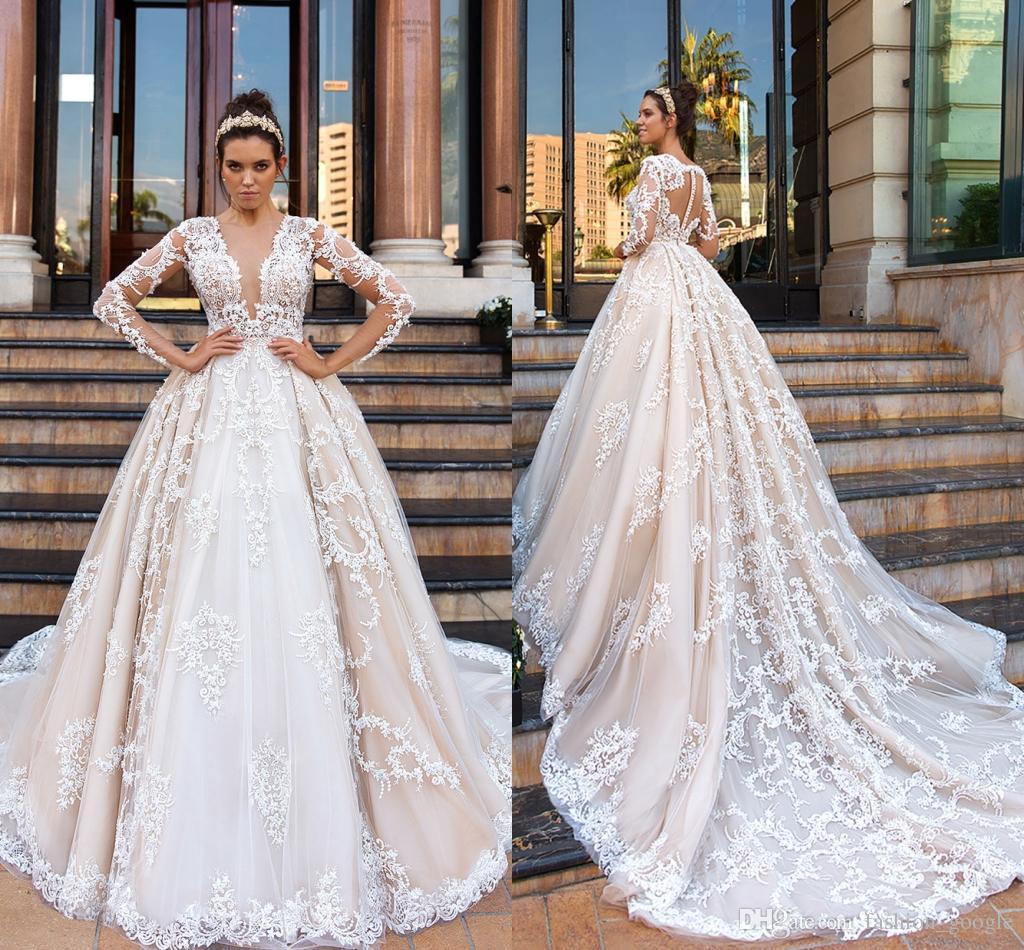 e475cd9439e Acheter Robes De Mariée De Mariage Romantique 2018 Robe De Bal Manches  Longues Vestes De Noiva De  205.03 Du Fashion google