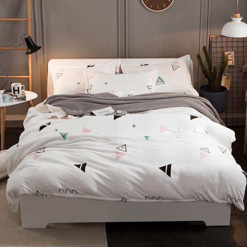 Thick Fleece Warm Bed Set White Grey Color Modern Cute Bedding Set  Queen/King Size Duvet Cover Bed Sheet Set Pillowcase Gifts Green Bedding  Sets Queen ...