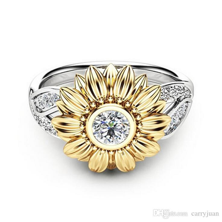 Victoria Wieck 2018 New Arrival Hot Fashion Jewelry 18K White Gold Filled 5A Cubic Zirconia Chrysanthemum sunflower Women Band Ring Gift