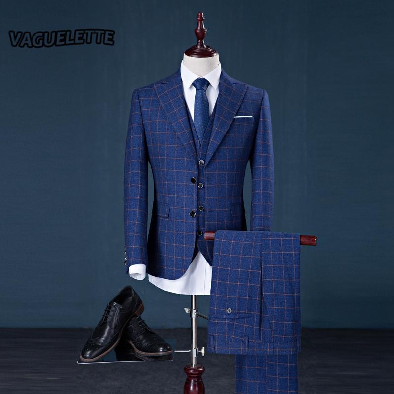 8ce30af7eb (Blazer Pants Vest) Abito scozzese in tweed Mens Classic Vintage Gentleman  Abbigliamento formale Matrimonio skinny Uomo Abito blu scuro con pantaloni  ...