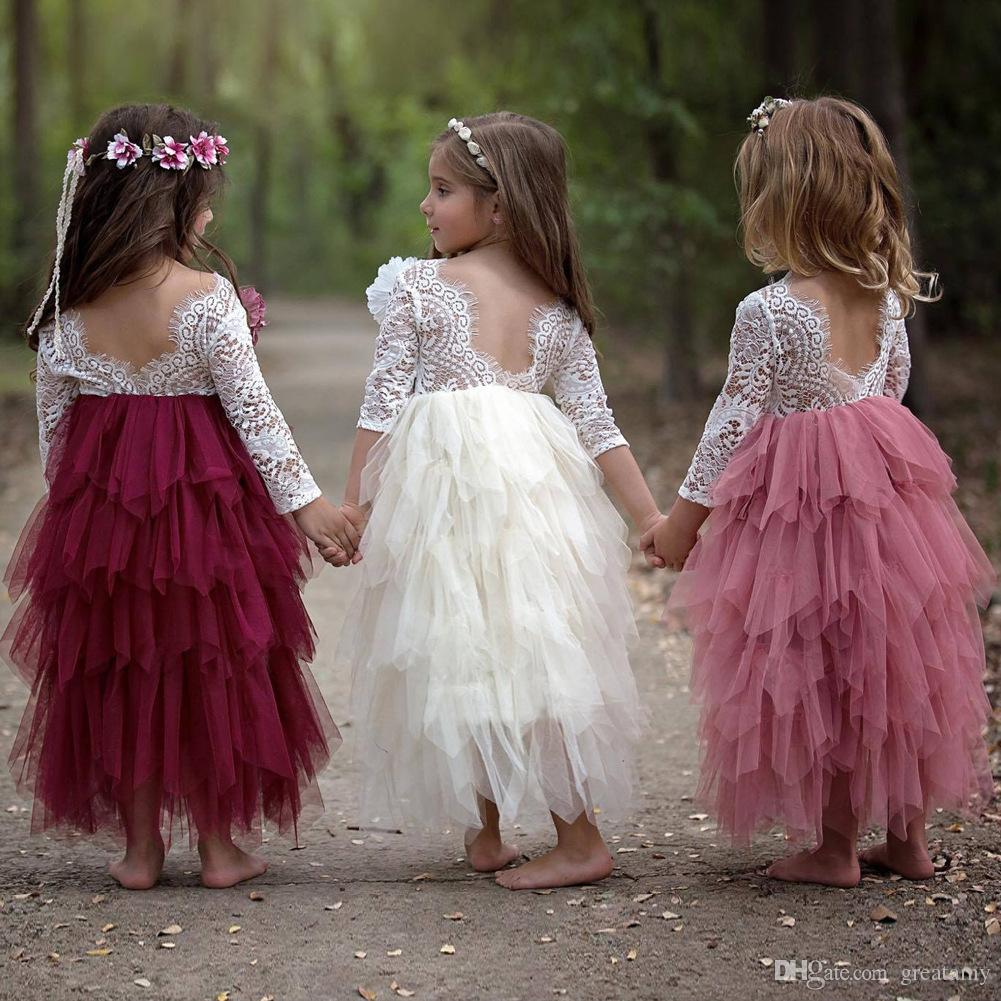 bf0d7ffb3 2019 Lace Long Slvee Baby Girls Tutu Skirts Multi Layer Net Gauze ...