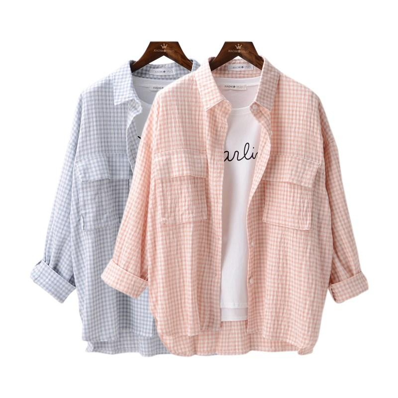 18b9b443be042 2019 2018 Women Blouses Batwing Sleeve Shirts Cotton And Linen Casual Loose  Shirt Flannel Plaid Shirt Female Blouse Tops With Pockets From Mapnature