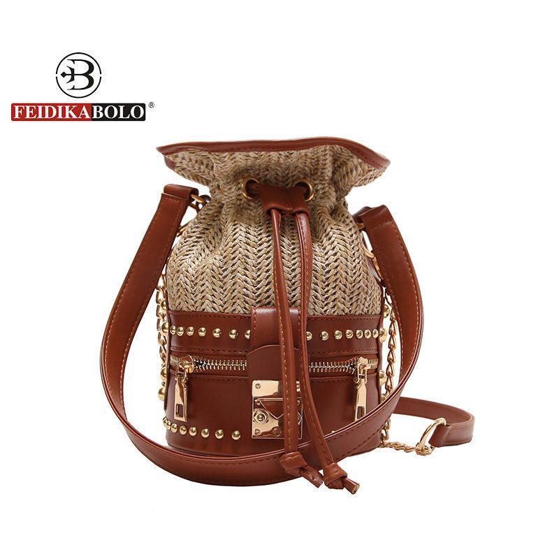 0a8b6ffe7b Personality PU Rivet Twine Decorative Fashion Ladies Bucket Bag Crossbody  Messenger Bag Handbag Totes Bolsa Bags For Women 2018 Designer Handbags On  Sale ...