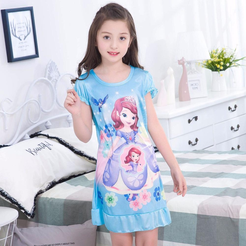 Girl Home Clothes 2 12y New 2018 Summer Style Girl Nightgowns Dress ...