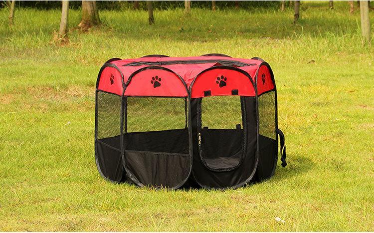 새 도착 휴대용 접는 개 하우스 애완 동물 텐트 새장 개 고양이 텐트 강아지 개집 팔각 울타리 야외 애완 동물 크기 : 73 * 73 * 43cm