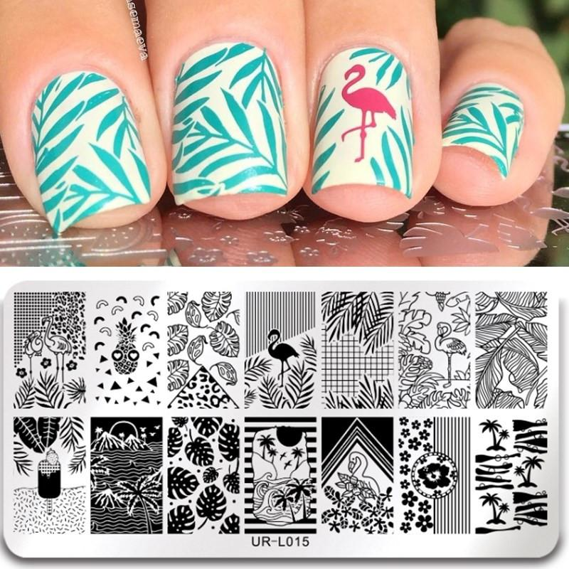 Ur Sugar Flamingo Nail Stamping Plates Flower Animal Pattern Nail ...