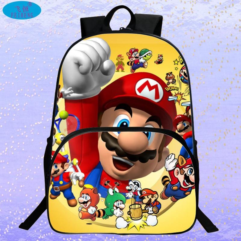 New 2017 Hot Sale Children's 3D Cartoon Backpack Cool Super Mario School Backpack for Kids Mario Bros Shoulder Bags for Boys