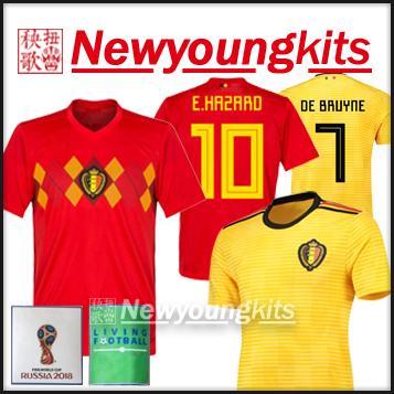 buy popular c7d6e cd665 2018 world cup Belgium home soccer Jersey away Football uniforms world cup  patchs De Bruyne Hazard Lukaku soccer shirt