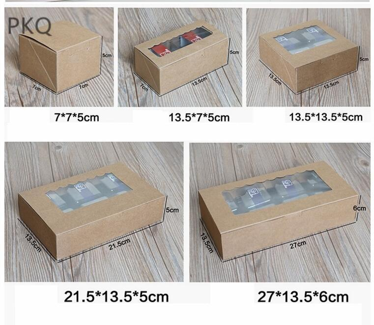 10pcs Blue dots Kraft Paper cake box with pvc window, Cookies Biscuit 6 cupcake packaging box,brown gift packaging box for cake